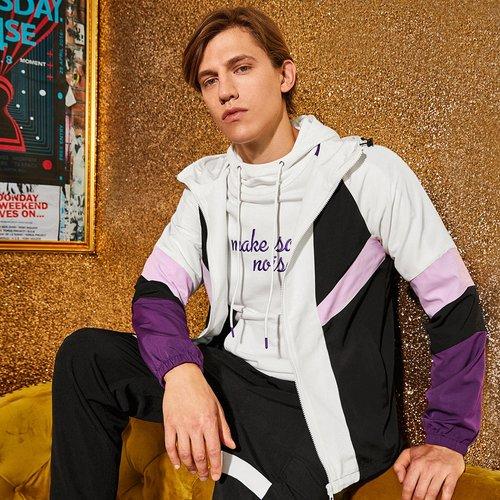 Blouson zippé à capuche avec blocs de couleurs - SHEIN - Modalova