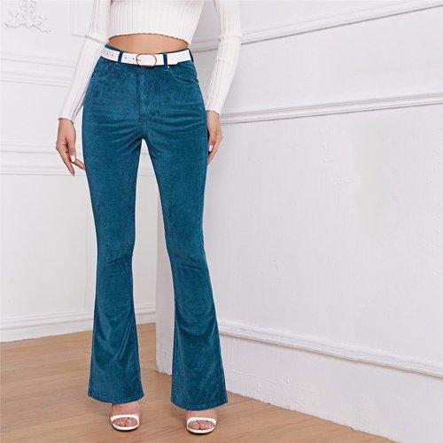 Pantalon taille haute bootcut en velours côtelé (sans ceinture) - SHEIN - Modalova