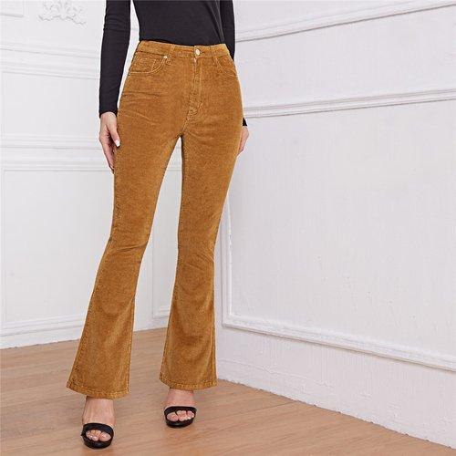 Pantalon taille haute bootcut en velours côtelé - SHEIN - Modalova