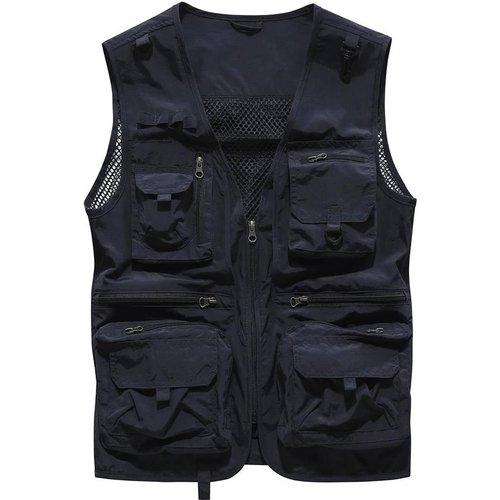 Manteau sans manches résille zippé - SHEIN - Modalova