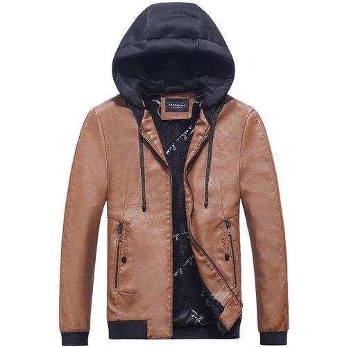 Veste à capuche en cuir PU zippée avec cordon - SHEIN - Modalova