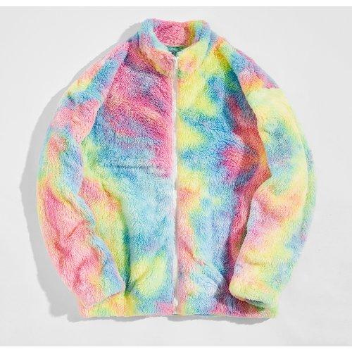 Manteau en tissu duveteux tie dye zippé - SHEIN - Modalova