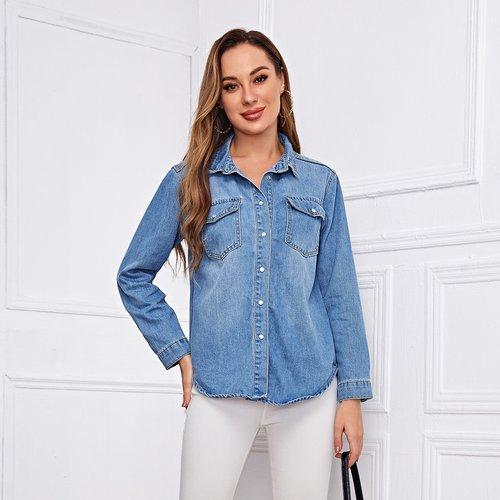 Blouson boutonné en jean - SHEIN - Modalova