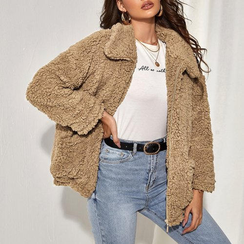 Manteau duveteux zippé - SHEIN - Modalova