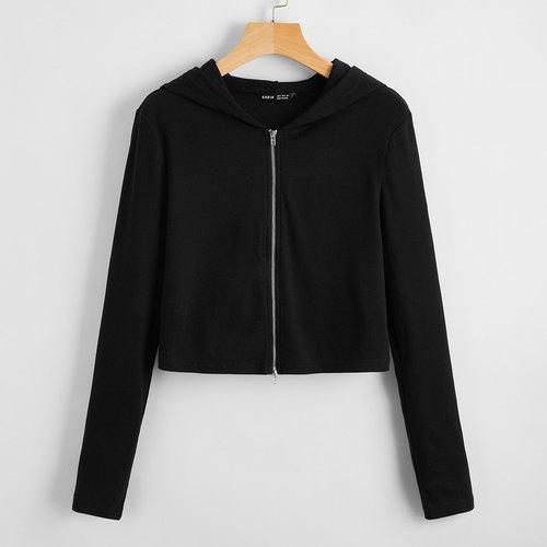 Veste à capuche courte zippée - SHEIN - Modalova