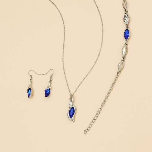 Collier avec pierre & Boucles d'oreilles & Bracelet - SHEIN - Modalova