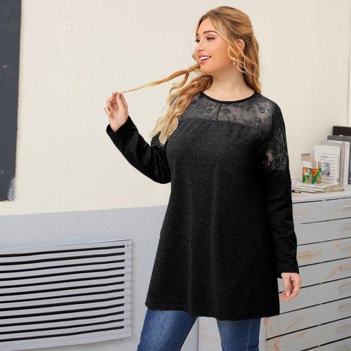 T-shirt long avec dentelle - SHEIN - Modalova