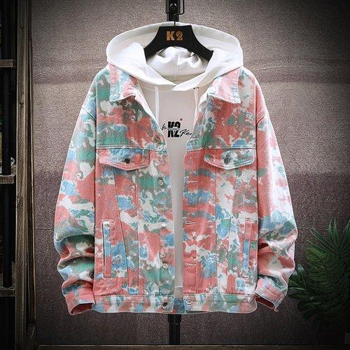 Veste en jean tie dye avec bouton(sans t-shirt) - SHEIN - Modalova