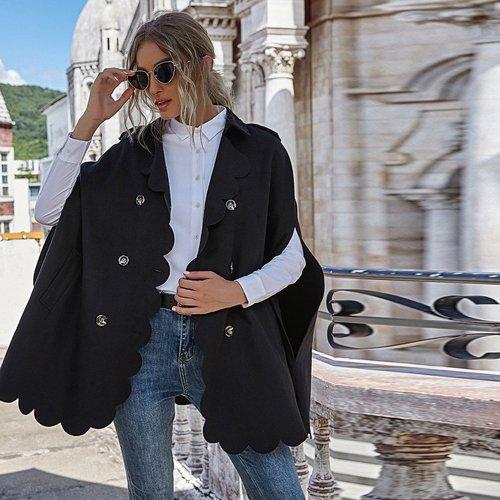 Manteau cape en laine mélangée avec boutons - SHEIN - Modalova