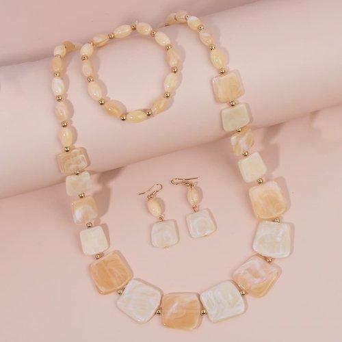 Collier avec pendentif géométrique & Boucles d'oreilles & Bracelet - SHEIN - Modalova