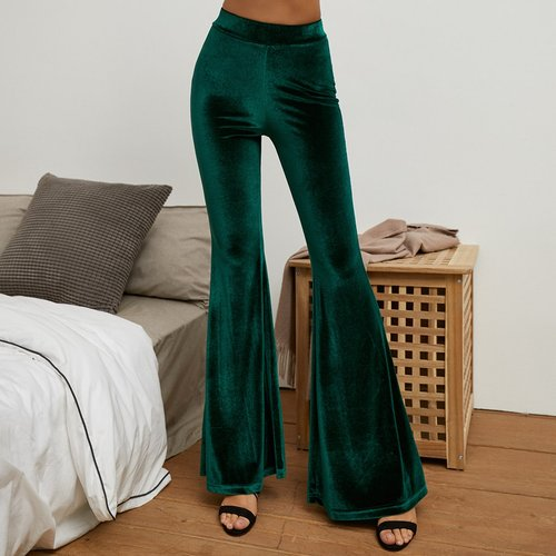 Pantalon bootcut taille haute en velours - SHEIN - Modalova