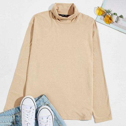 T-shirt unicolore avec col roulé - SHEIN - Modalova
