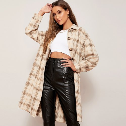 Manteau à carreaux long - SHEIN - Modalova