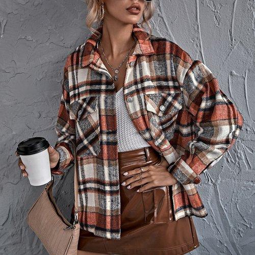 Manteau oversize à carreaux - SHEIN - Modalova