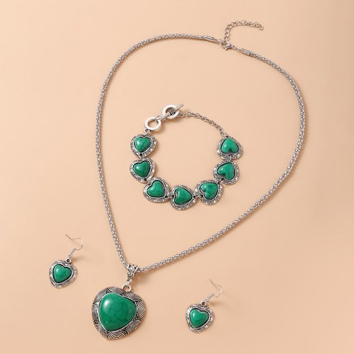 Collier avec pendentif cœur & Bracelet & Boucles d'oreilles - SHEIN - Modalova