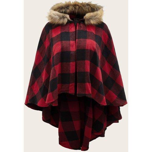Manteau cape à carreaux avec fourrure synthétique - SHEIN - Modalova