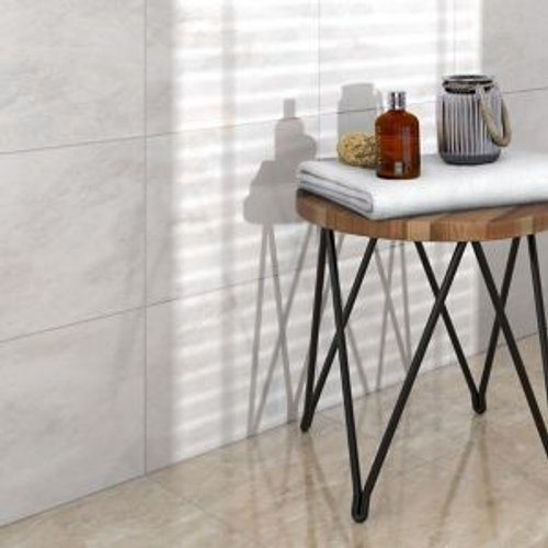Save 72% - Illusion White Gloss Stone effect Ceramic Wall & floor tile  (L)360mm (W)275mm  Sample