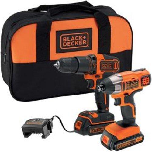 Black & Decker 18V 1.5Ah Li-ion Cordless Combi drill & impact driver BCK25S2S-GB