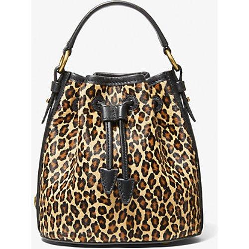 MK Petit sac seau Monogramme en poil de vachette à imprimé léopard - - Michael Kors - MICHAEL KORS COLLECTION - Modalova