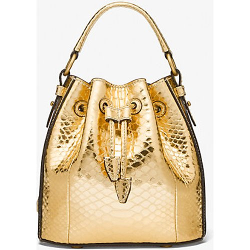 MK Petit sac seau Monogramme en cuir métallisé effet python en relief - - Michael Kors - MICHAEL KORS COLLECTION - Modalova