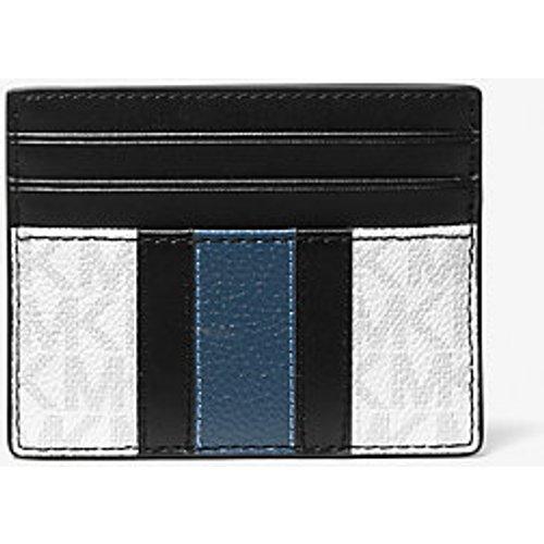MK Grand porte-cartes Hudson rayé à imprimé logo - / - Michael Kors - MICHAEL KORS COLLECTION - Modalova