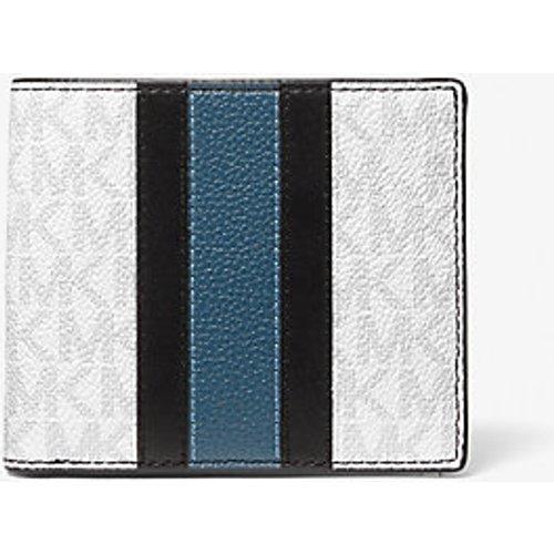 MK Portefeuille compact Hudson rayé en cuir avec logo - / - Michael Kors - Michael Kors Mens - Modalova