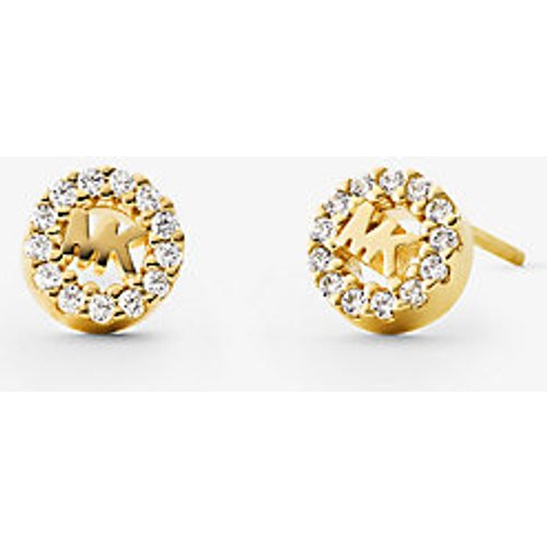 MK Clous doreille à logo sertis pavé en argent sterling plaqué en métal précieux - Michael Kors - Modalova