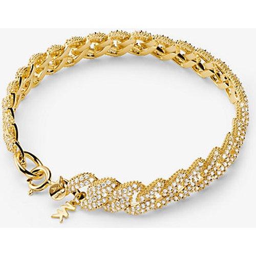 MK Bracelet à maillons gourmette en argent sterling plaqué en métal précieux avec pierres pavées  - Michael Kors - Modalova