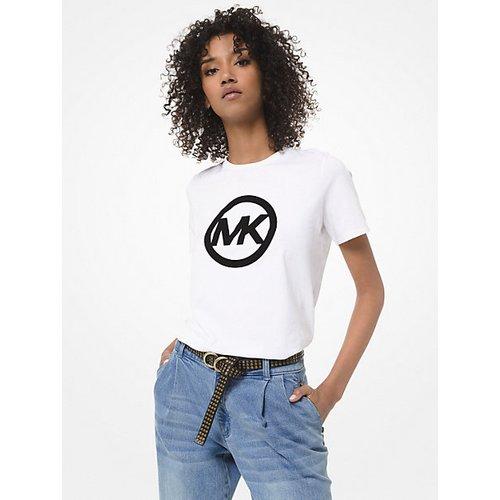 MK T-shirt en jersey de coton à logo en velours - - Michael Kors - MICHAEL KORS COLLECTION - Modalova