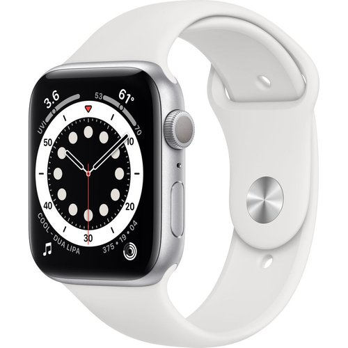 Save £10.00 - APPLE Watch Series 6 - Silver Aluminium with White Sports Band, 44 mm, Silver
