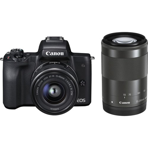 Save £130.00 - Canon EOS M50 Mirrorless Camera with EF-M 15-45 mm f/3.5-5.6 IS STM & 55-200 mm f/4.5-6.3 IS STM Lens