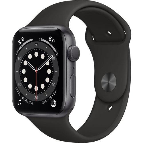 Save £10.00 - APPLE Watch Series 6 - Space Grey Aluminium with Black Sports Band, 44 mm, Grey
