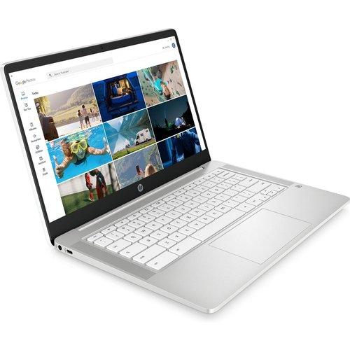 """Save £30.00 - HP 14a 14"""" Chromebook - Intelu0026regPentium Silver, 128 GB eMMC, White, Silver"""