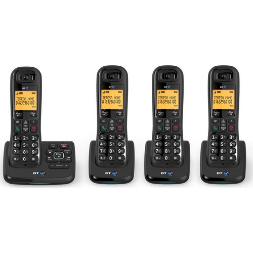 BT XD56 Cordless Phone with Answering Machine - Quad Handsets
