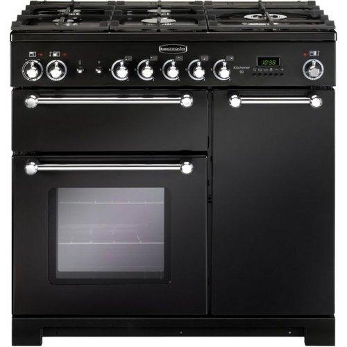 RANGEMASTER Kitchener KCH90DFFBL/C Dual Fuel Range Cooker - Black & Chrome, Black