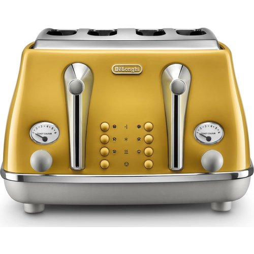 HALF PRICE! DELONGHI Icona Capitals CTOC4003.Y 4-Slice Toaster - Yellow, Yellow