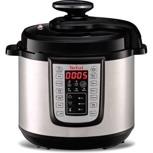 Save £20.00 - TEFAL CY505E40 All-in-One Pressure Cooker - Stainless Steel & Black, Stainless Steel