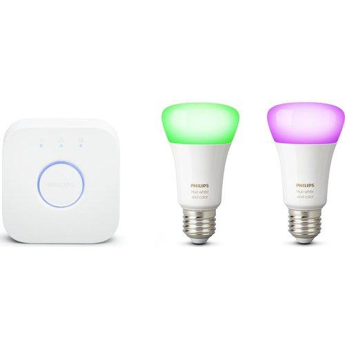 PHILIPS Hue White and Colour Ambiance Mini Smart Bulb Starter Kit - E27, White