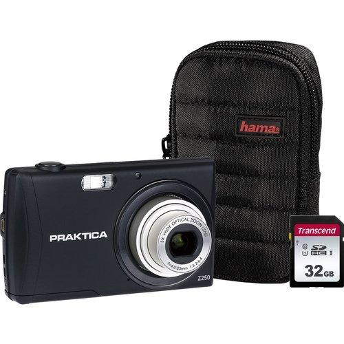 PRAKTICA Luxmedia Z250-BK Compact Camera, Case & 32 GB Memory Card Bundle - Black, Black