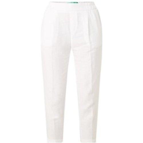 Pantalon slim taille haute en lin - Benetton - Modalova