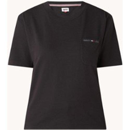 T-shirt avec poche poitrine et bordure logo - Tommy Hilfiger - Modalova