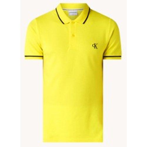 Polo coupe régulière en coton piqué avec bordure logo - Calvin Klein - Modalova