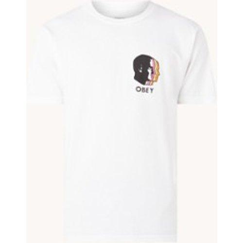 T-shirt Paralles en coton biologique avec imprimé sur le devant et au dos - Obey - Modalova