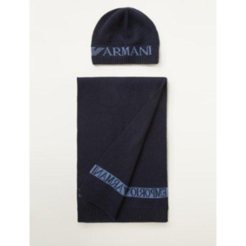 Ensemble avec écharpe en maille fine et bonnet en laine mélangée - Emporio Armani - Modalova