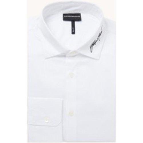Chemise coupe slim avec bordure logo - Emporio Armani - Modalova