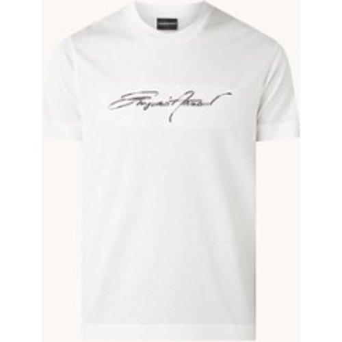 T-shirt en lyocell mélangé avec imprimé logo - Emporio Armani - Modalova