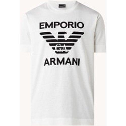 T-shirt avec imprimé logo floqué - Emporio Armani - Modalova