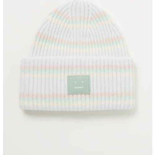 Bonnet finement tricoté en laine avec logo - Acne Studios - Modalova