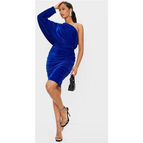 Robe mi-longue en velours froncé bleu à manche unique - PrettyLittleThing - Modalova