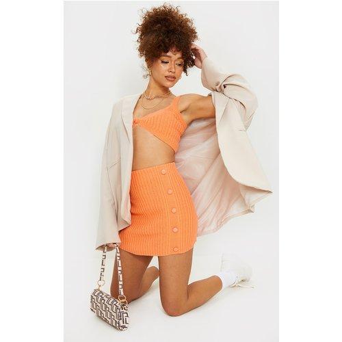 Mini-jupe en maille tricot côtelée à boutons - PrettyLittleThing - Modalova